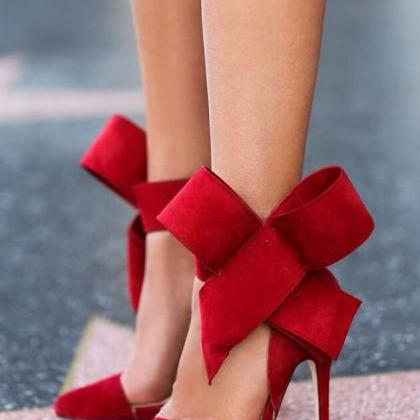 On Sell Big bow pointed Toe strap h..