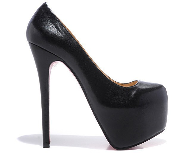 PUMP Platform Celebrity Genuine Leather Nude And Black Stilettos ...