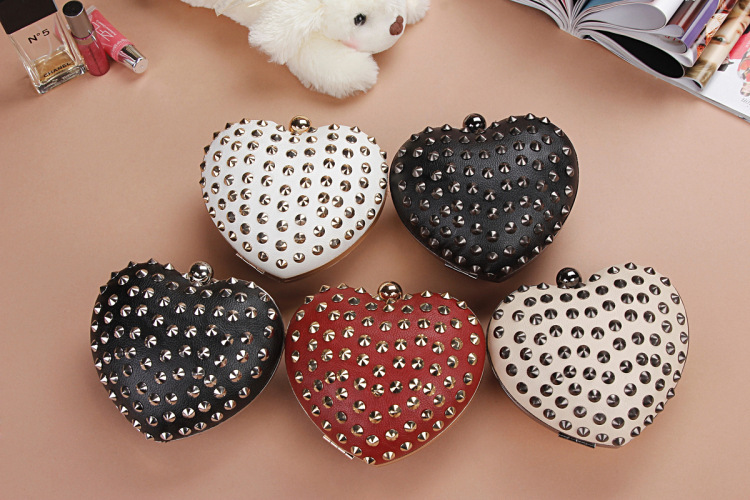 Stud Hedgehog Rivet Punk Heart Shaped Coin kEY Holder Clutch Bag Purse GIft For Wedding