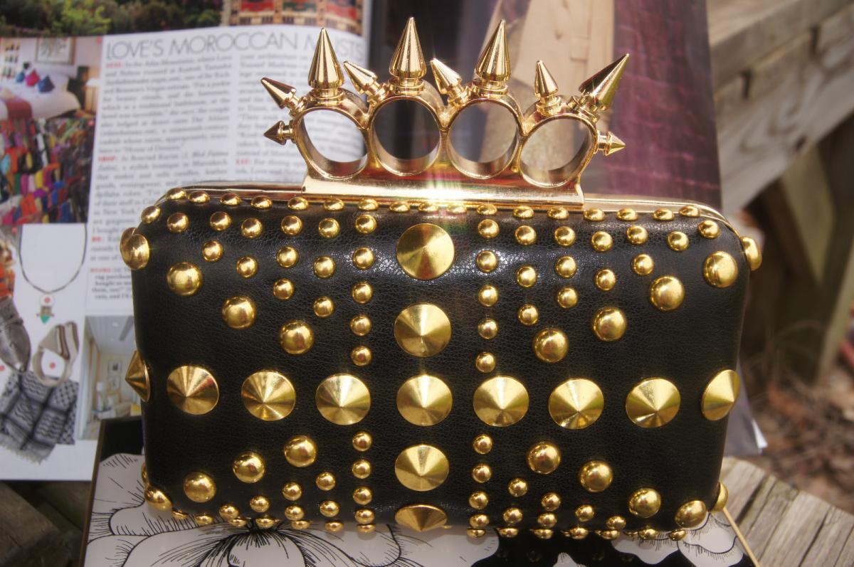 Punk Hedgehog RIVET Spike Rings Knuckle Evening Party Clutch Chain Handbag