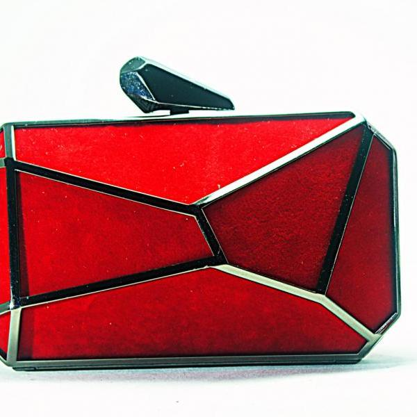 Milanblocks Geometry Abstract Art Red Hasp Evening Wedding Party Clutch Handbags Purse Fashion Bridal Wedding Red Purses