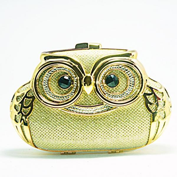 Milanblocks Minaudiere Embellished Party Owl Shape Minaudiere Strappy Hot Crystal Clutch Women Fashion Gold Designer Bag Purse