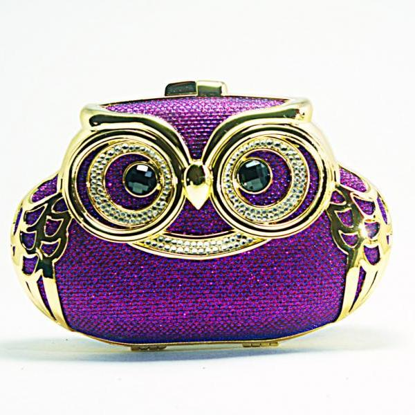 Milanblocks Minaudiere Embellished Party Owl Shape Minaudiere Strappy Hot Crystal Clutch Women Fashion Purple Designer Bag Purse