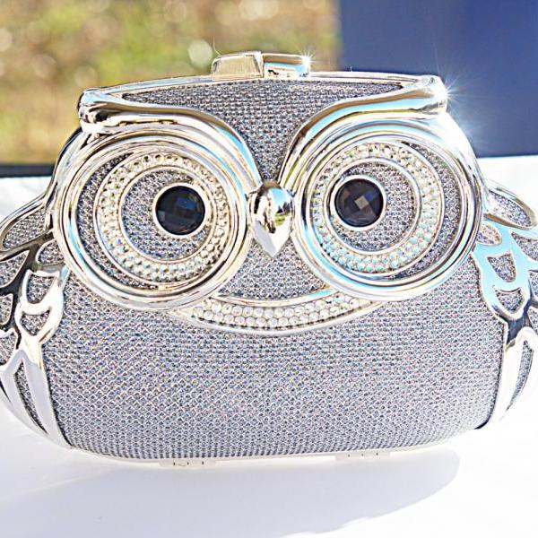 Milanblocks Minaudiere Embellished Party Owl Shape Minaudiere Strappy Hot Crystal Clutch Women Fashion Silver Designer Bag Purse