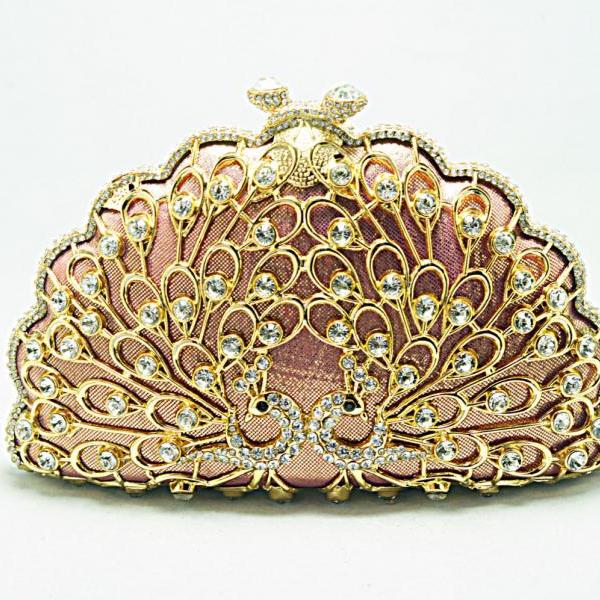 Peacock Metal Box Minaudiere Evening Wedding Clutch Party Fashion Pink Handbag Purse Shinny Luxury Brand bags