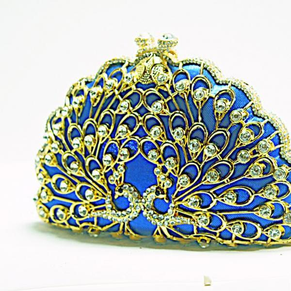 Peacock Metal Box Minaudiere Evening Wedding Clutch Party Fashion Blue Handbag Purse Shinny Luxury Brand bags