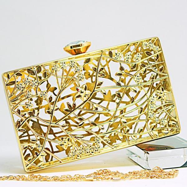 Milanblocks Gold Metallic Hardcas Evening Clutch Party Art Designer Baroque Minaudeire Bags Wedding Purse Flower Chain Handbags