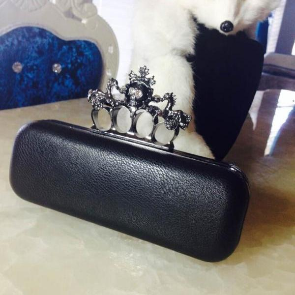 Brand Black Faux Leather Evening Wedding Box Clutch Handbag Purses Fashion
