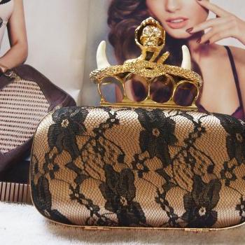 NEWDesign Unicorn Gold Skull Ring Knuckle Box Lace Sexy Clutch Evening Party Bag