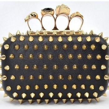 *New*Spike RIVET Skull Ring Knuckle Party Evening/Shoulder/Clutch/Purse/Handbag